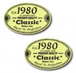 PAIR Distressed Aged Established 1980 Aged To Perfection Oval Design Vinyl Car Sticker 70x45mm Each